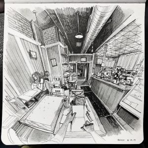 This Artist Creates Incredible Drawings of the Room He's in From His Perspective
