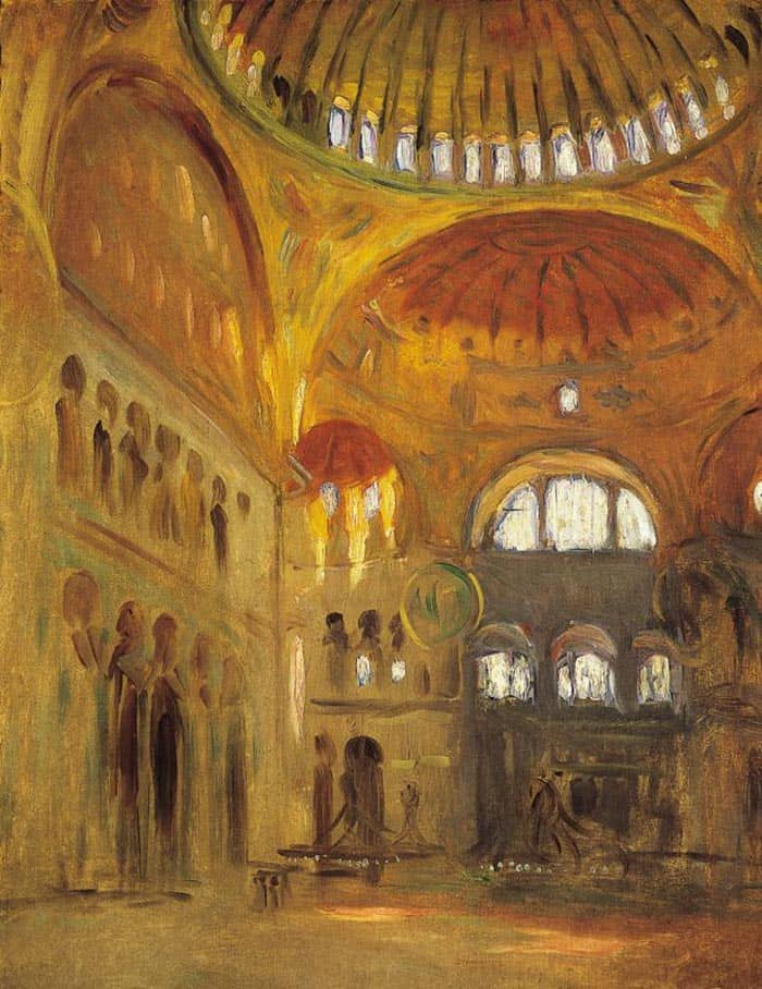 John Singer Sargent The Interior Of Hagia Sophia In Constantinople