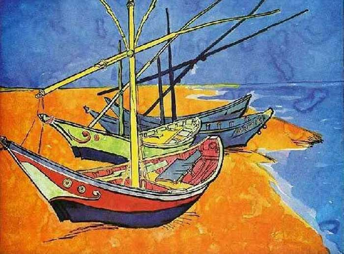 Vincent van Gogh, Fishing Boats On The Beach At Saintes-Maries-de-la-Mer, 1888