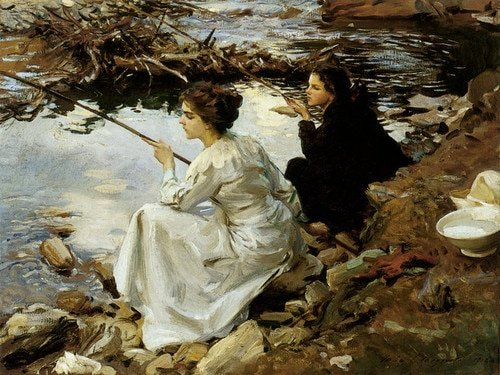John Singer Sargent Two Girls Fishing